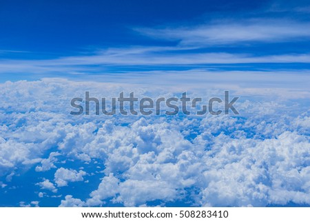 The beautiful bright blue sky , white clouds floating in the sky use as wallpapers or backgrounds. #508283410
