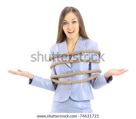 The beautiful business woman fastened by a cord