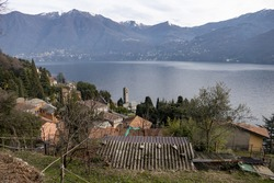 The beautiful cityscape of Carate Urio with ancient buildings in Laglio, Lombardia
