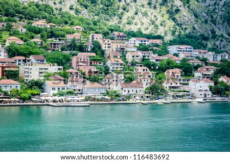 The beautiful coast of Kotor, Montenegro. Blue water and mediterranean houses.