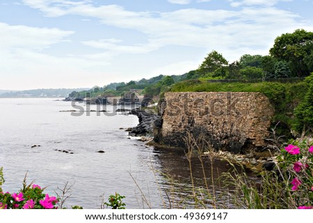 The beautiful coast of Rhode Island with wild flowers in the foreground.