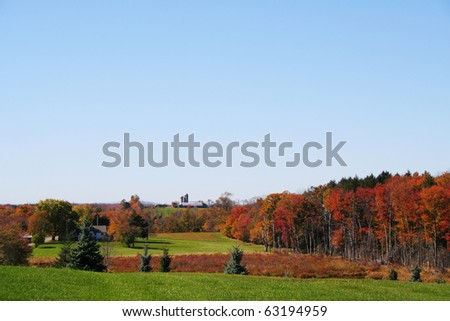 The beautiful colors of autumn in rural New York State, Catskill Mountains