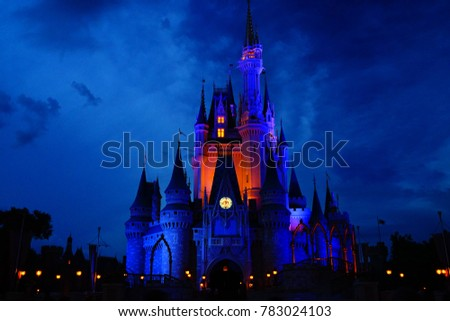 The beautiful Disney castle before the firework