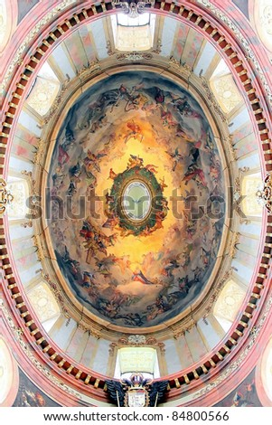 "The beautiful dome of St. Peter's Church (Peterskirche), a Baroque Roman Catholic parish church in Vienna, Austria. The fresco represents the ""Coronation of Our Lady""."