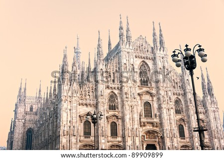 The beautiful Duomo in Milan at sunset, Italy.