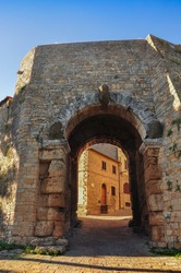 The beautiful Etruscan entrance door to Volterra