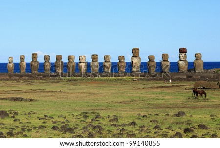 The beautiful fifteen Moai statues of Easter Island in the South Pacific