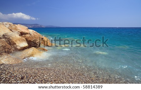 The beautiful French Riviera and Mediterranean shoreline on a sunny day in Nice, France.