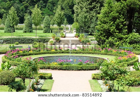 The beautiful gardens of Weesenstein Castle, Saxony (Germany)