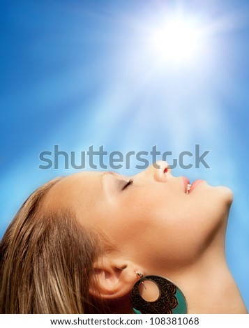The beautiful girl and the sun.
