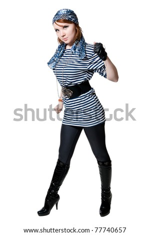 The beautiful girl dressed as the pirate isolated on white background #77740657