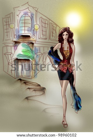 The beautiful girl goes down the street the ancient city drawing is