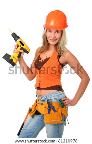 The beautiful girl  showing off her carpentry tools