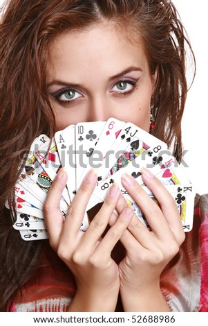 The beautiful girl with fortunetelling cards