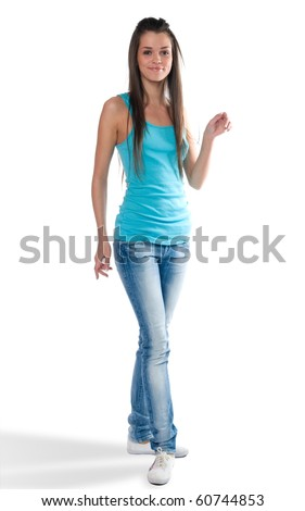 The beautiful girl with long hair it is isolated on a white background - stock photo
