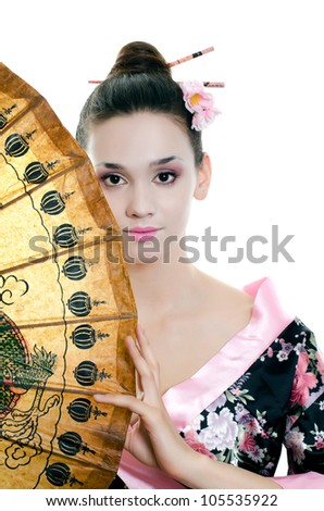 The beautiful girl with make-up of Japanese