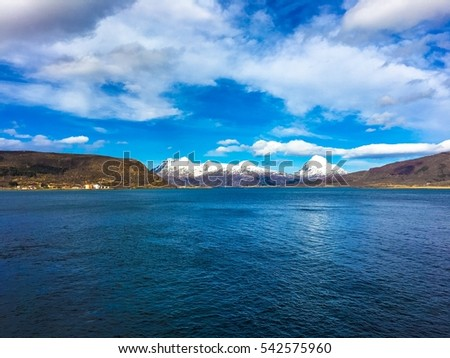 The beautiful Helgeland coast in Nordland county, Norway. The coast here is known for its steep mountains and islands. This is around the village of Nesna. #542575960