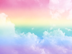 The beautiful image of colorful sky and cloud with gradient shade light pale LGBT rainbow color include red orange yellow green blue and purple meaning to freedom for LGBT to equal with every gender