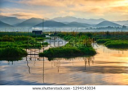 The beautiful Inle lake in Myanmar at sunrise Сток-фото ©