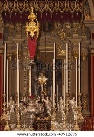 The beautiful interior of the Parish church of Zurrieq in Malta, dedicated to patron saint St Catherine of Alexandria