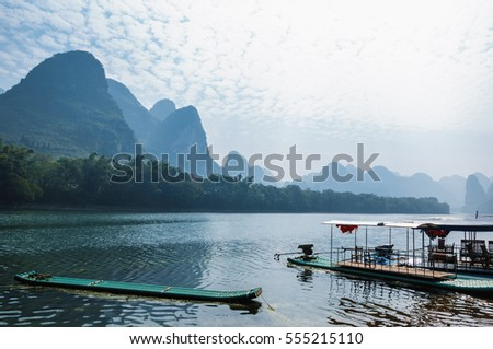 The beautiful karst mountains and Lijiang river scenery #555215110