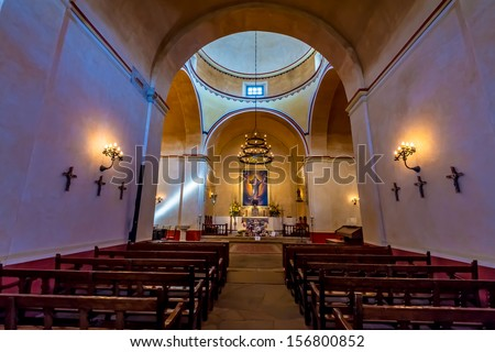 The Beautiful Larger Chapel of the Historic Old West Spanish Mission San Jose, Founded in 1720, San Antonio, Texas, USA.  Part of a National Park System preserving historic missions.