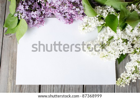 The beautiful lilac on a wooden surface - stock photo