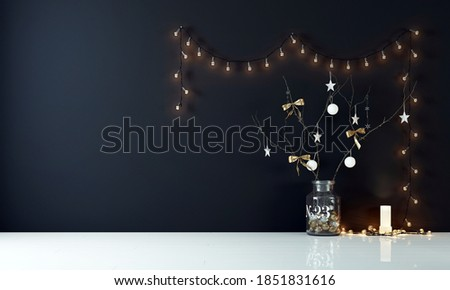 The beautiful mock up room interior design of chrismas living room and black wall texture background/3D rendering