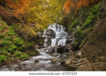 The beautiful mountain waterfall among color wood.