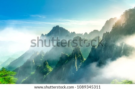 Stock Photo The beautiful natural scenery of Mount Huangshan