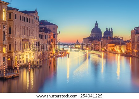 The beautiful night view of the famous Grand Canal in Venice, Italy #254041225