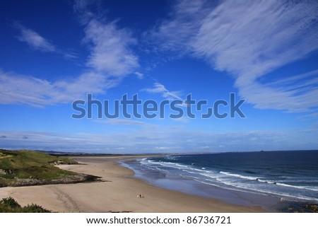 The beautiful Northumberland coastline, United Kingdom - stock photo