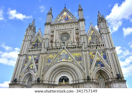 The beautiful Orvieto gothic cathedral facade