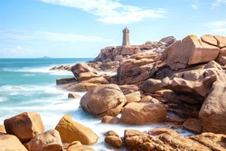 The beautiful pink granite coast of Ploumanac'h in Brittany. France