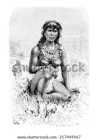 The Beautiful Popoula, a Young Native Woman in Oiapoque, Brazil, drawing by Riou from a sketch by Dr. Crevaux, vintage engraved illustration. Le Tour du Monde, Travel Journal, 1880 Photo stock ©