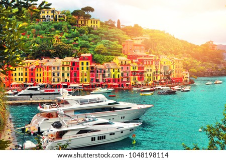 The beautiful Portofino with colorful houses, luxury boats and yacht in little bay harbor. A vacation resort with  celebrity and artistic visitors.Liguria, Italy ,Europe