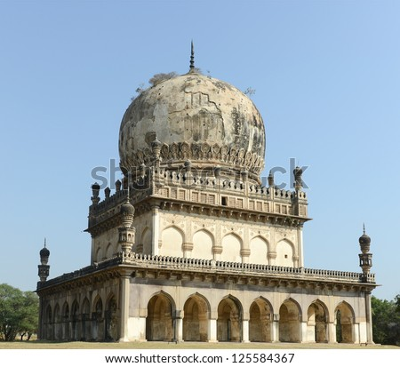 The beautiful Qutb Shahi Tomb in the southern city of Hyderabad in India, near the Golconda Fort.