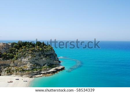 The beautiful rock of Tropea with its beautiful sea
