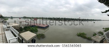 The beautiful scenery of a river in the morning. It is a nice landmark with a nice environment.