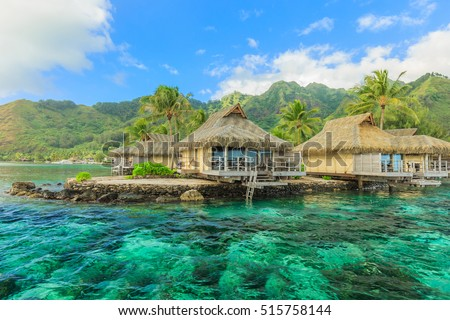 The Beautiful sea and resort in Moorea Island at Tahiti PAPEETE, FRENCH POLYNESIA.