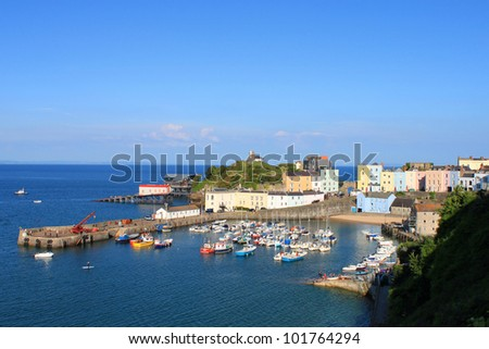 The beautiful seaside town of Tenby and its Harbour, Pembrokeshire in Wales
