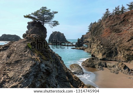The beautiful Secret Beach in Samuel H. Boardman State Scenic Corridor. After a short hike, you arrive at this hidden amazing peaceful beach. Samuel H. Boardman, Oregon, USA. #1314745904