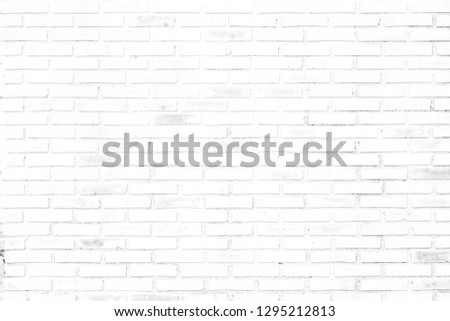 The Beautiful Soft Color of Old Brick Wall Surface as Background, White Brick Wall Texture