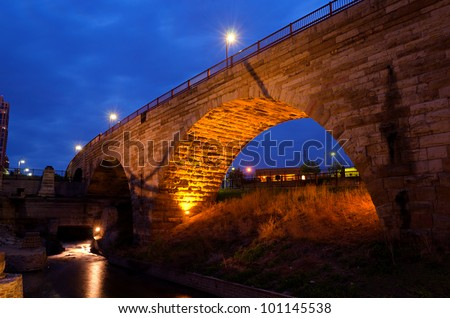The Beautiful Stone Arch Bridge at Night in Minneapolis Minnesota