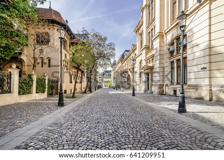 The beautiful Strada Postei street in the Lipscani district, in a moment of tranquility without people, historical center of Bucharest, Romania Foto stock ©