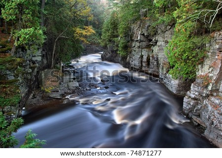 The Beautiful Sturgeon River Gorge, It's Golden Colored Rushing Water Made silky By This Early Morning Long Exposure, Upper Peninsula, Michigan, USA