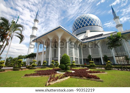 The beautiful Sultan Salahuddin Abdul Aziz Shah Mosque (also known as the Blue Mosque) located at Shah Alam, Selangor, Malaysia.