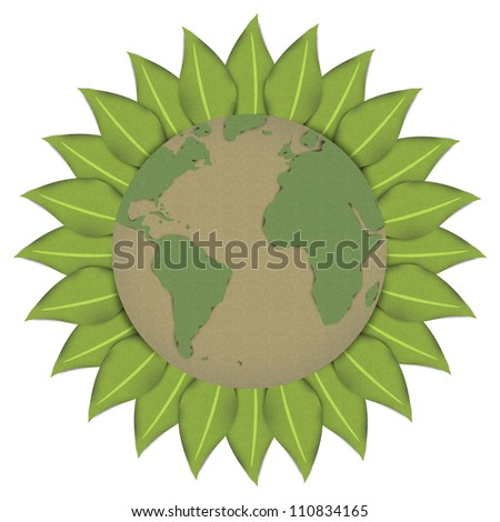 The Beautiful Sun or Sunflower With Globe Inside Made From Recycle Paper  For Stop Global Warming or Save The Earth Concept Isolated on White Background