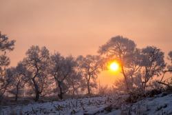 The beautiful sunrise in the early morning in Rime Island, Jilin.