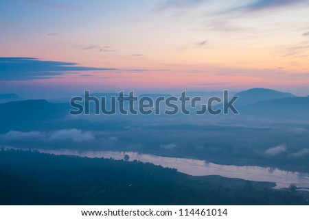 The beautiful� Sunrise� on mist, Dong Na Tham national park,� Thailand.